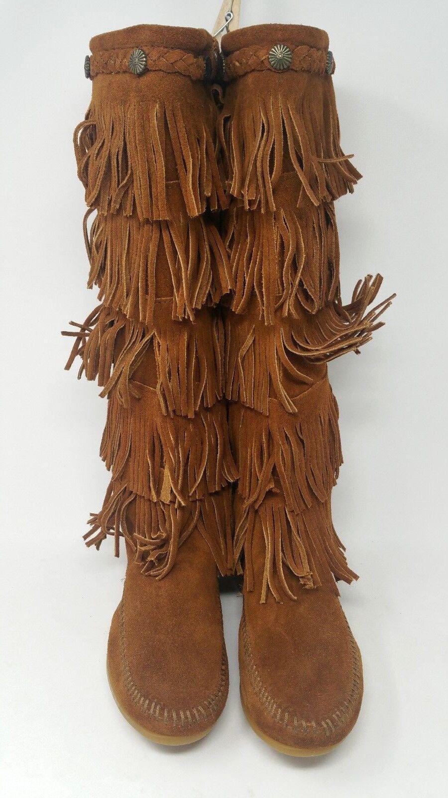 Minnetonka Women's Layer Fringe Boot Five Tier Size 6 Brand New No Box 2307202