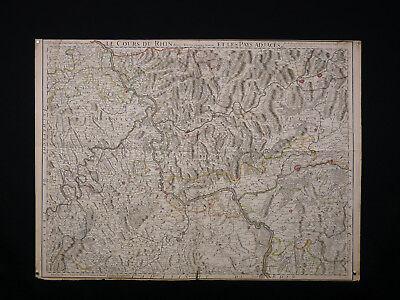 Guillaume Delisle (1675-1726) Le Cours Du Rhin Ancienne Carte Géographique 1704 Zonden En Botten Versterken