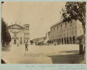 Mantua-Piazza-Sordella-view-people-by-monument-antique-albumen-photo-Italy