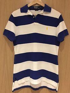 f4be450e Authentic Polo Ralph Lauren Polo T Shirt White Blue Stripes Custom ...