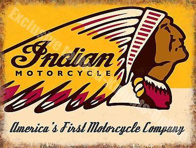Indian Motorcycles 190 American Vintage Chopper Bike Garage Large Metal Tin Sign
