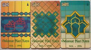 Malaysia-Used-Phone-Cards-3-pcs-Selamat-Hari-Raya-1414-1994
