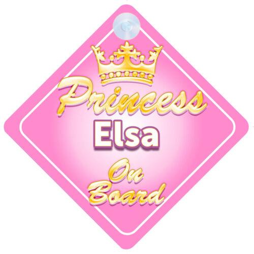 Crown Princess Elsa On Board Personalised Baby Girl Car Sign