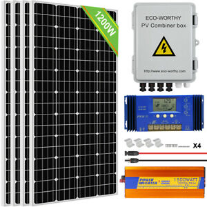 1200w Solar Panel Kit 1500w 24v Inverter 4 String Pv Combiner Box For Home Ebay