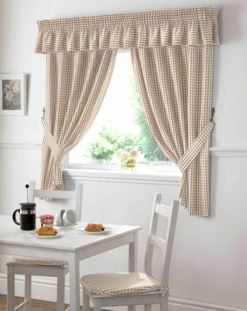 Beige Gingham Embroidered Pelmet To Match Kitchen Curtains L136