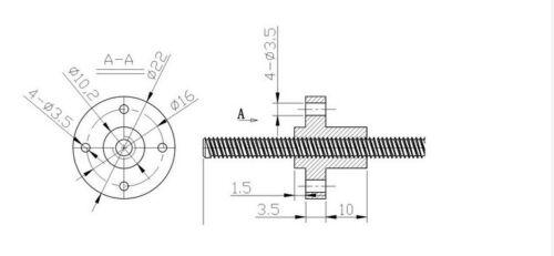 8 mm 3D Printer T8 Pitch 1 mm Blei 1 mm Länge 500 mm Rod Edelstahl Schraube+Nut