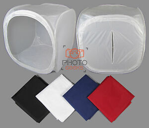 "Large 120cm / 47"" Photography Light Tent + 4 Backdrops - Box Cube Photo Studio 5060327252396"