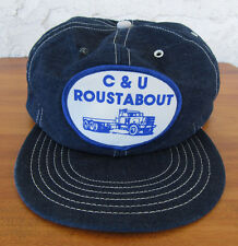 Vintage Denim Snapback Patch Hat C & U Roustabout Trucks Trucking Distressed USA