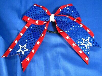 Patriotic glitter and sequin hair bow