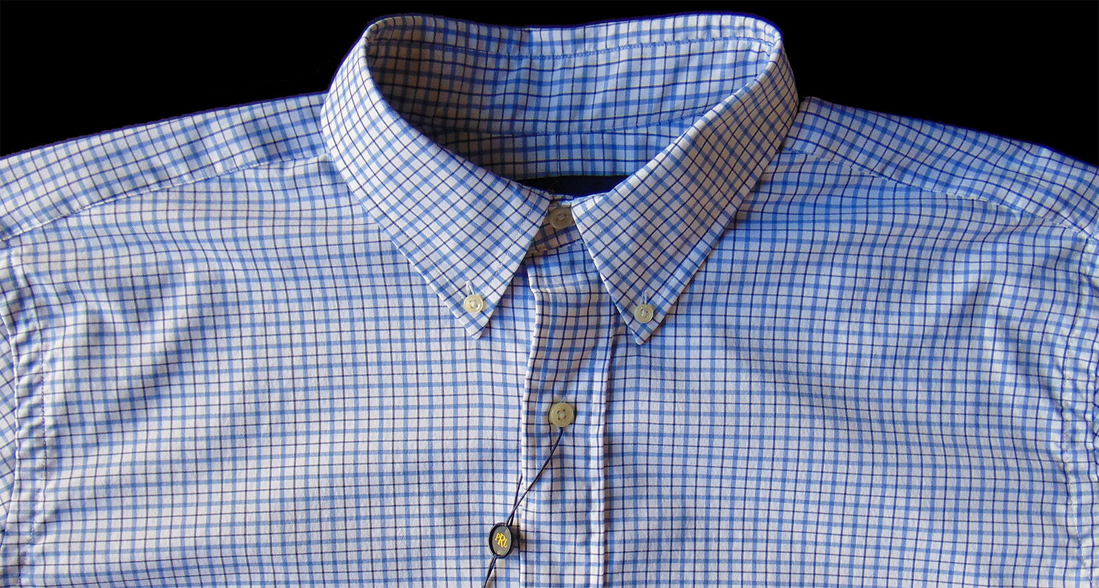 Men's RALPH LAUREN bluee White Plaid Shirt LT TALL Performance Fabric NWT NEW