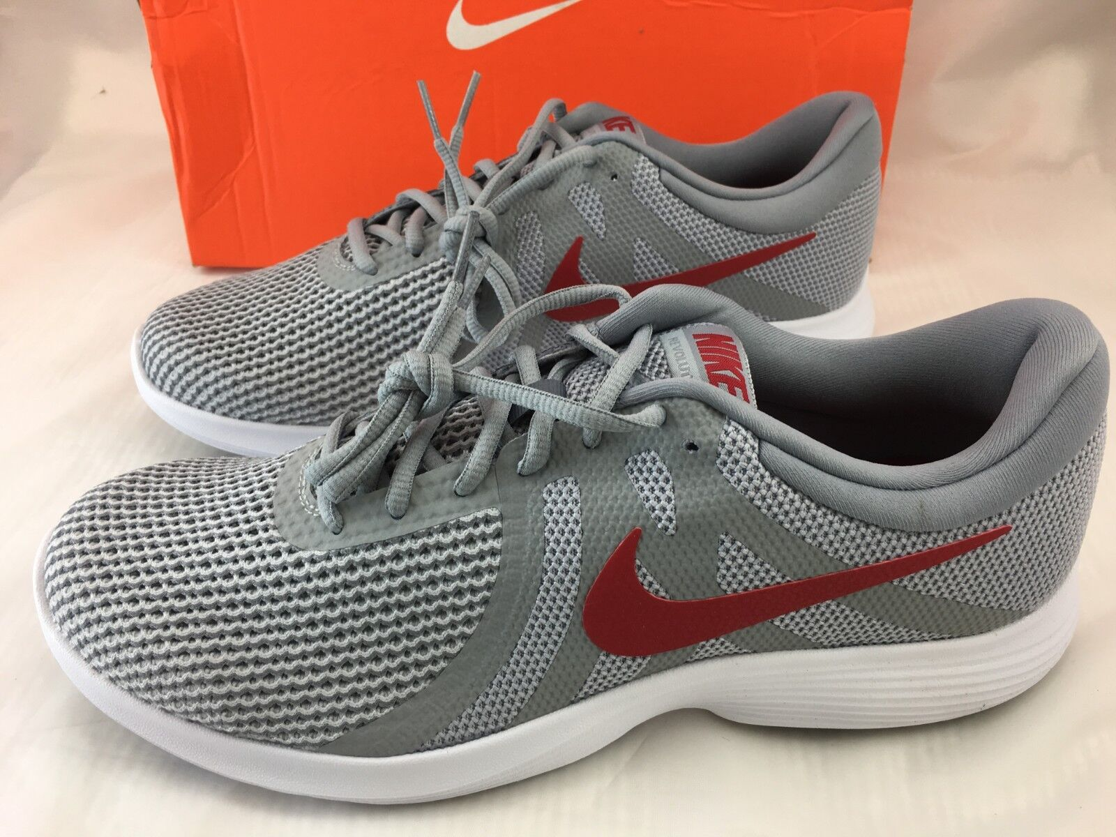 Nike Mens Revolution 4 Running shoes Sneakers 11.5 Wolf Grey Gym Red 908988 NIB
