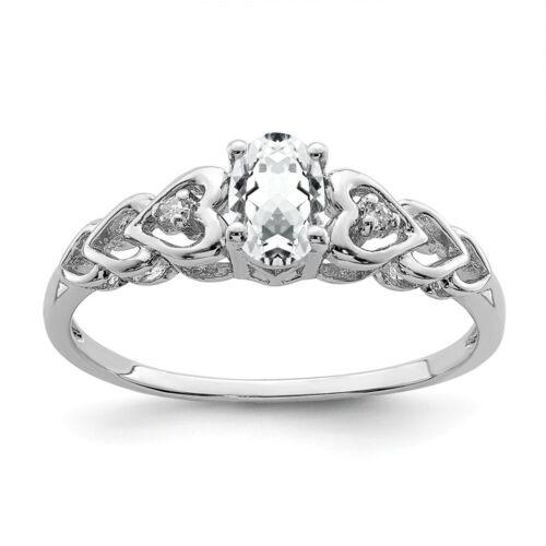 Sterling Silver April Birthstone White Topaz /& .02 CT Diamond Ring Size 5 to 10