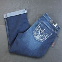 Apt 9 Womens 4 Petite Embellished Jean Capris Bling Cuffed Stretch 4p