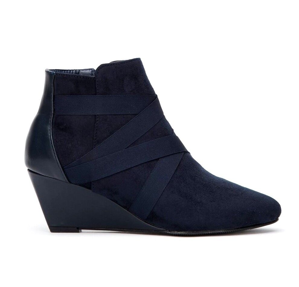 Wallis Avril Womens Navy bluee 6cm Wedge Heel Zip Up Ankle Boots