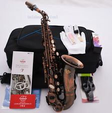 Professional TaiShan Curved Bb Soprano Saxophone Red Antique Sax Engraving Bell