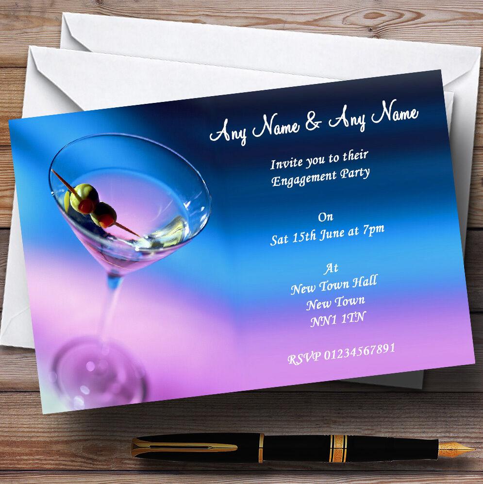 Quand tu fête la nouvelle année, je suis heureux. heureux. suis Bleu violet MARTINI Fiançailles invitations personnalisées fe77e0