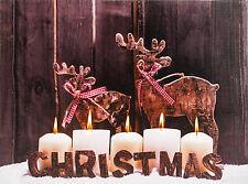 Decorazione NATALIZIA LIGHT Up LED TELA Immagine Parete-SHABBY CHIC Renne