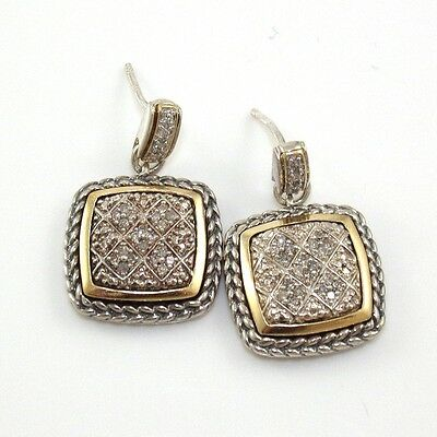 Sterling Silver 14K Yellow Gold 0.20ctw Natural Diamond Dangle Earrings LQ18-G