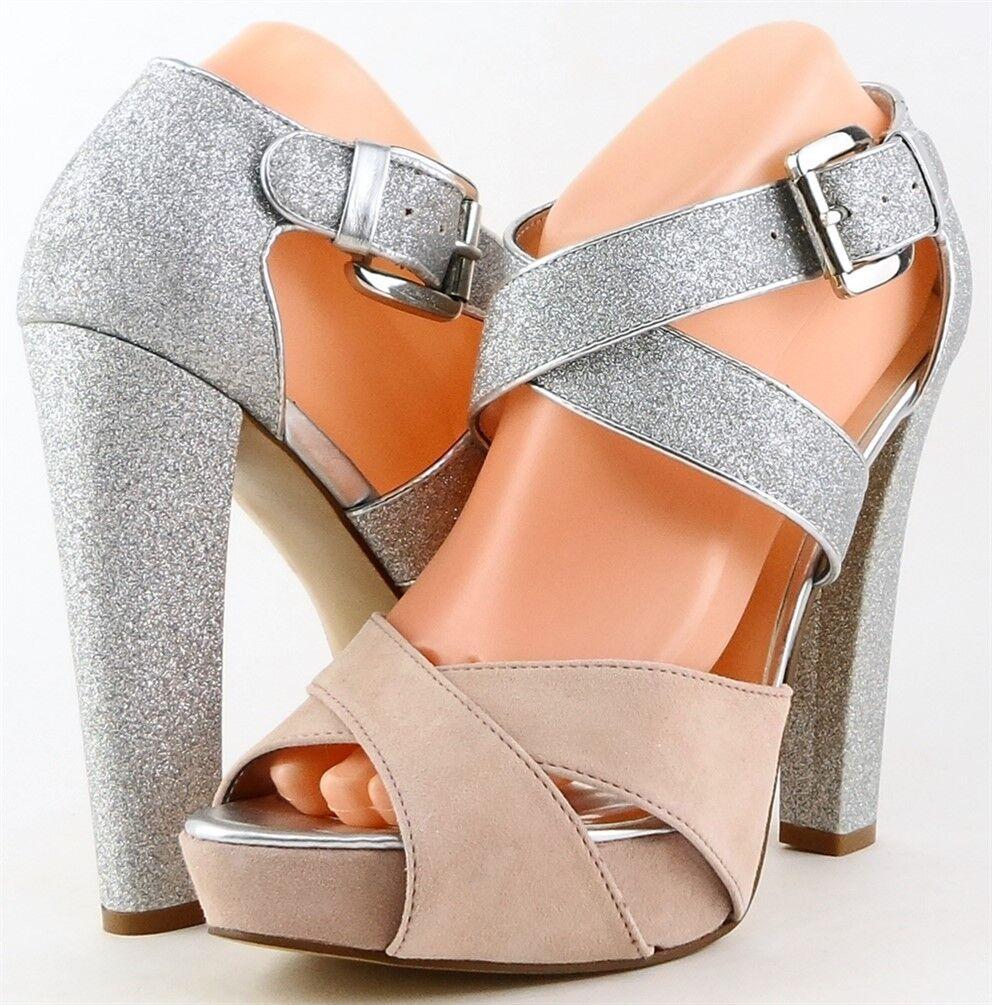 AQUA MOXIE Pink Suede Silver Glitter Designer EVENING Platform Pumps 9.5