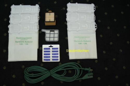 Vorwerk Kobold 135 /& 136  passendes Filterset mit Beutel Filter 10 Meter Kabel