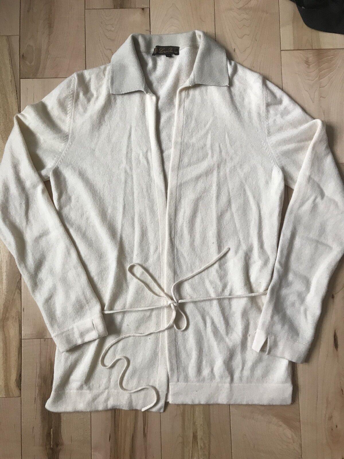 Lgold Piana Cream Ivory Cashmere & Cotton Cardigan Sweater Top SZ 42