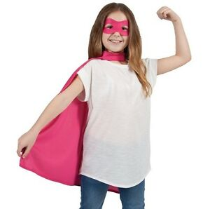 Childs-Halloween-Superhero-Fancy-Dress-Kit-Cape-amp-Mask-Pink-Kids-Cloak-New-w