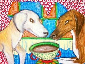 AZAWAKH-Drinking-Coffee-Dog-Pop-Art-8-x-10-Signed-by-Artist-Giclee-Print-LTD-ED