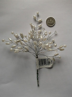 Pearl and crystal bead spray - white or ivory - for cake toppers or bouquets