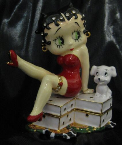 NIB Official Betty Boop Pudgy Dog Double Dice Figurine Trinket Box Connoisseur
