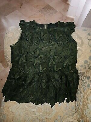 Olive Green Military Punk Lace Up Tie Sheer Long Top Blouse 197 mv Tunic S M L