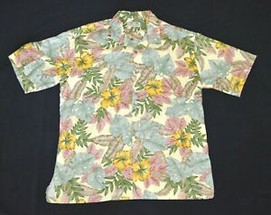 Kona-Kai-Trading-Co-Mens-Hawaiian-Shirt-Short-Sleeve-Pastel-Floral-Size-L