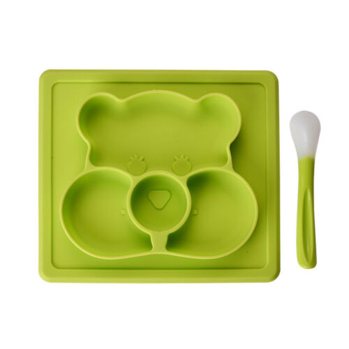 Cute Baby Silicone Plate Feeding Dishes Mat for Infant with Spoon kids Tableware