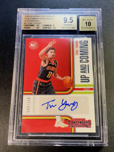TRAE-YOUNG-2018-PANINI-CONTENDERS-3-UP-amp-COMING-AUTO-199-ROOKIE-RC-BGS-9-5-10