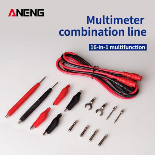 1 Set//16pcs Multifunction Test Leads Multimeter Probe Crocodile Clips Tool Kit
