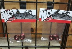 "MCS Red Chromoly Flanged Axle Nuts 3//8/"" x 26t Set of 2"