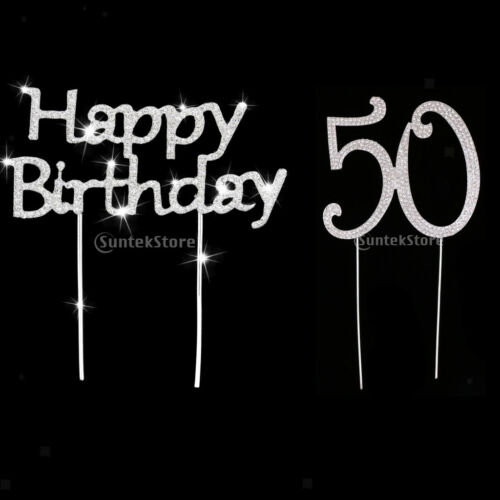 Shiny Crystal Silver Happy Birthday /&Number 50 Cake Topper Anniversary Décor