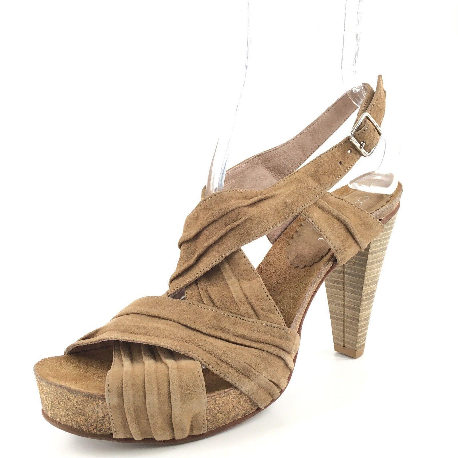 253 Cordani  Russel  Brown Suede Ankle Strap Platform Sandals Womens Size 40 M