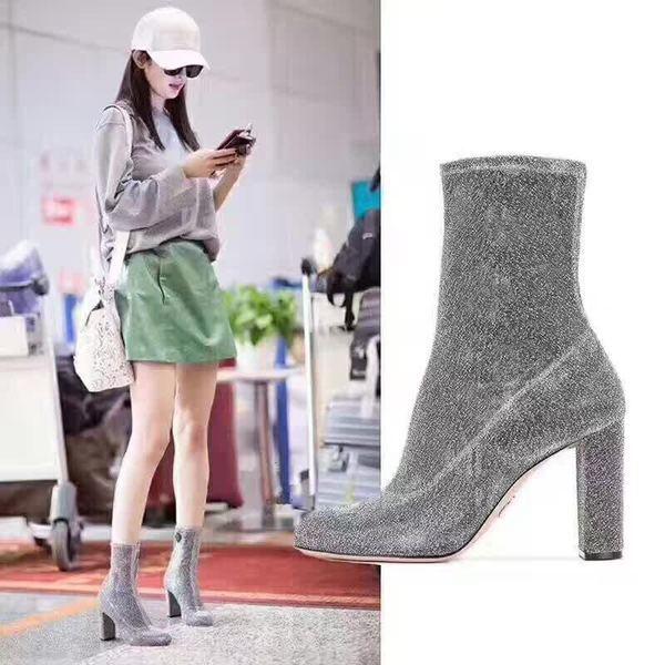 botas bajo zapatos tobillo plata 10 cm elegantes como piel 9637