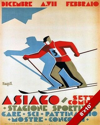 VINTAGE ASIAGO ITALIAN ALPS SKIING SKI ITALY RESORT POSTER ART REAL CANVAS PRINT