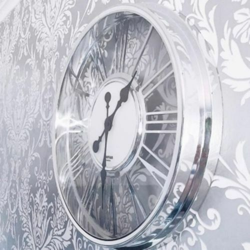 Large Round Chrome Frame Clear Roman Numeral Modern Home 40cm Kitchen Wall Clock