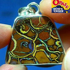 Lovely Pattern * Silver 26ct Natural Australian Solid Yowah Boulder Opal Pendant