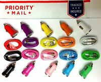 50 Lot 25 Sets Car Adapter + Charger Cable Data Sync Transfer For Iphone 5s 6