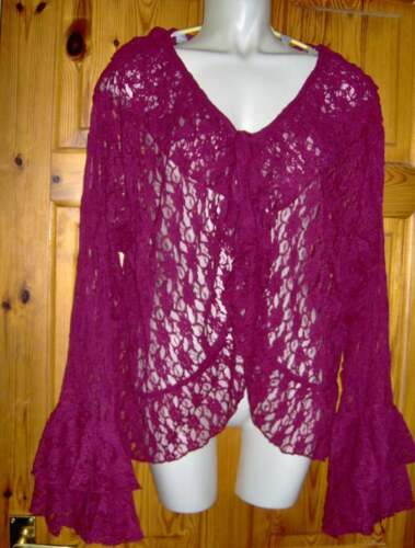 30-32 SUPERBE Prune-Rouge dentelle Bell Manche Cardigan-Grande taille-tailles 26-28