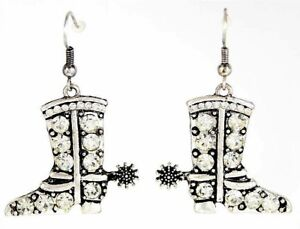 2b180ad5a Image is loading Silver-Cowboy-Boots-Spurs-Pave-Rhinestones-Earrings-Wire-
