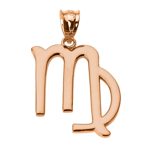 Fine 10k Rose Gold Virgo September Zodiac Sign Horoscope Pendant Necklace