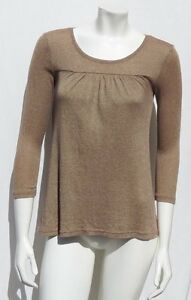 MICHAEL-STARS-USA-0167-Gold-Brown-Cotton-Shine-Tee-Shirt-Top-size-S-M-EUC