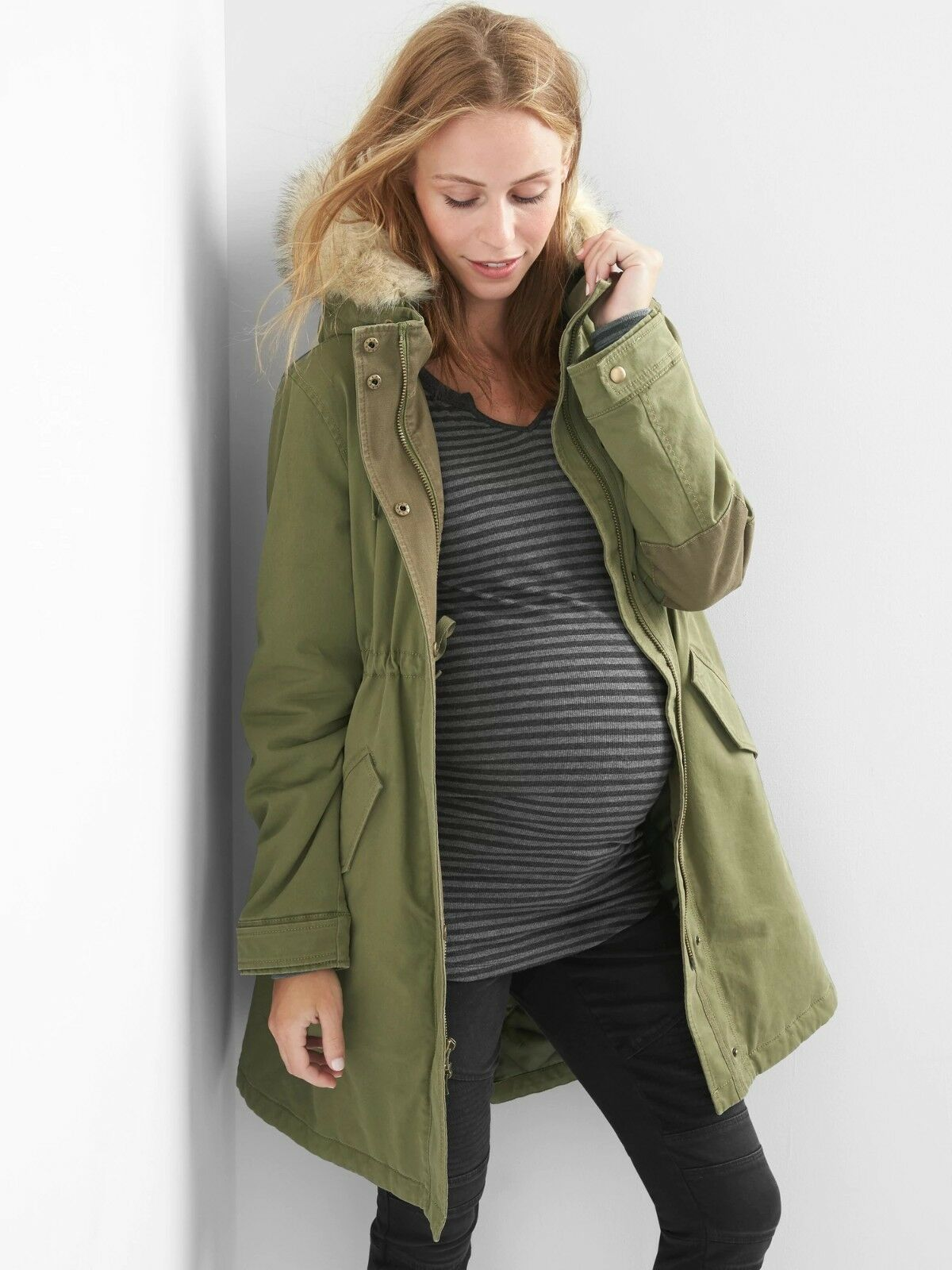 NWT Gap Maternity PrimaLoft parka Coat, Olive SIZE XL               E918