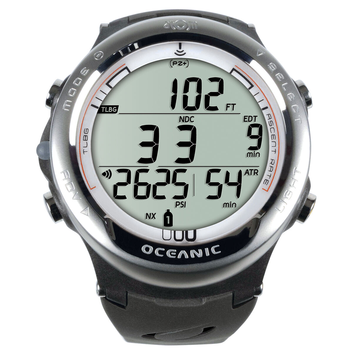 Oceanic Atom 3.1 Dive Computer w Transmitter and USB Cable Titanium/Weiß