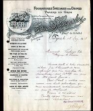 """TROYES (10) FOURNITURES pour USINES / PAPIERS en gros """"Edmond HOUZELOT"""" en 1913"""