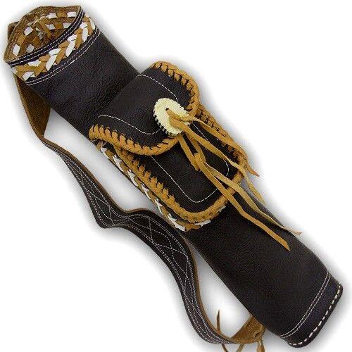 Clásico de cuero tradicional de tiro con arco Flecha atrás Aljaba AQ126 Marrón
